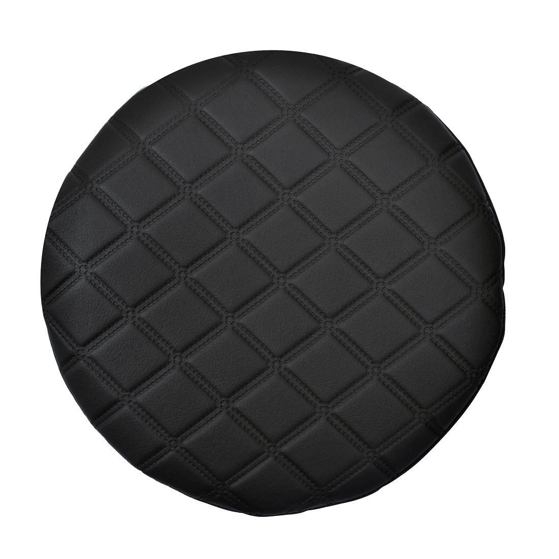Enerhu Round Bar Stool Cover Faux Leather Barstool Cover Thick Black L(11.8inch)