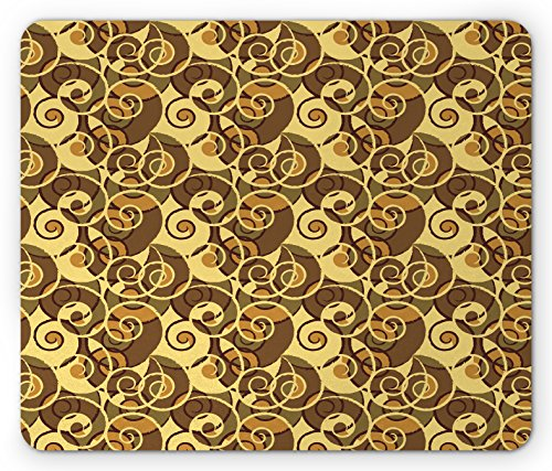Retro Mouse Pad by Lunarable, Vintage Classic Style Old Fashion Swirled Lines Baroque Inspired, Standard Size Rectangle Non-Slip Rubber Mousepad, Pale Yellow Umber Sand - Fashion Baroque Inspired