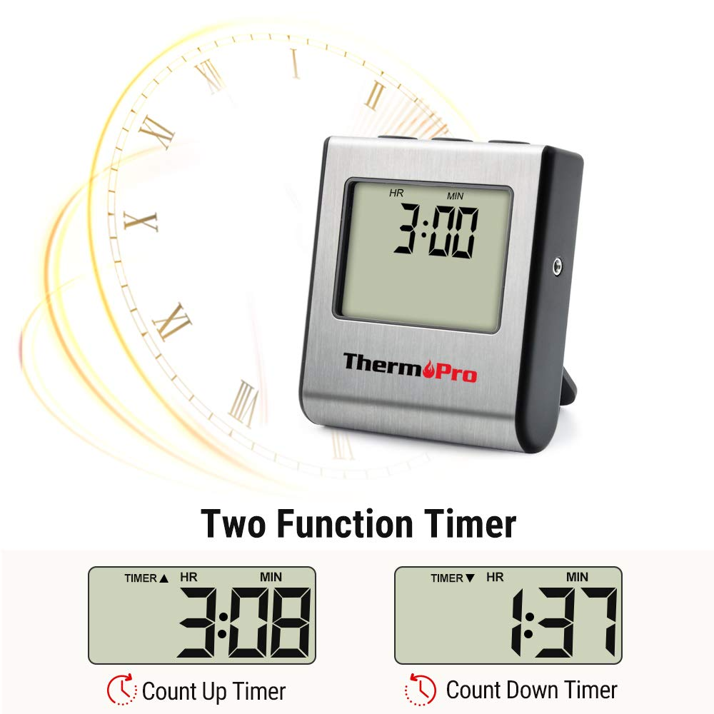 ThermoPro TP-16 Large LCD Digital Cooking Food Meat Thermometer for Smoker Oven Kitchen BBQ Grill Thermometer Clock Timer with Stainless Steel Temperature Probe by ThermoPro (Image #6)