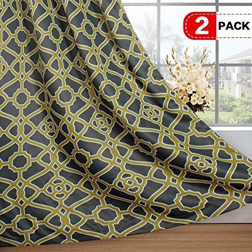 H.VERSAILTEX Window Treatment Thermal Insulated Printed Grommet Room Darkening Curtains/Drapes for Bedroom (2 Panels, 52 by 84 Inch Long, Pavilion Fretwork Pattern in Olive&Charcoal) (Olive Kids Curtains)