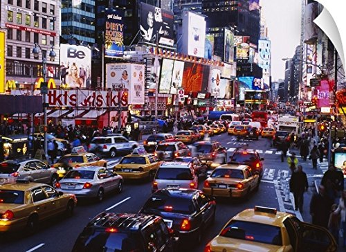 Canvas On Demand Wall Peel Wall Art Print entitled Traffic on a road in a city, Times Square, Manhattan, New York City, New York State - New In Times City Square York Stores