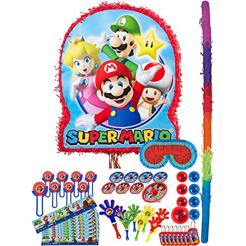 Party City Super Mario Pinata Kit for Birthday Party, Includes Bat, Blindfold and 48pc Favor Pack