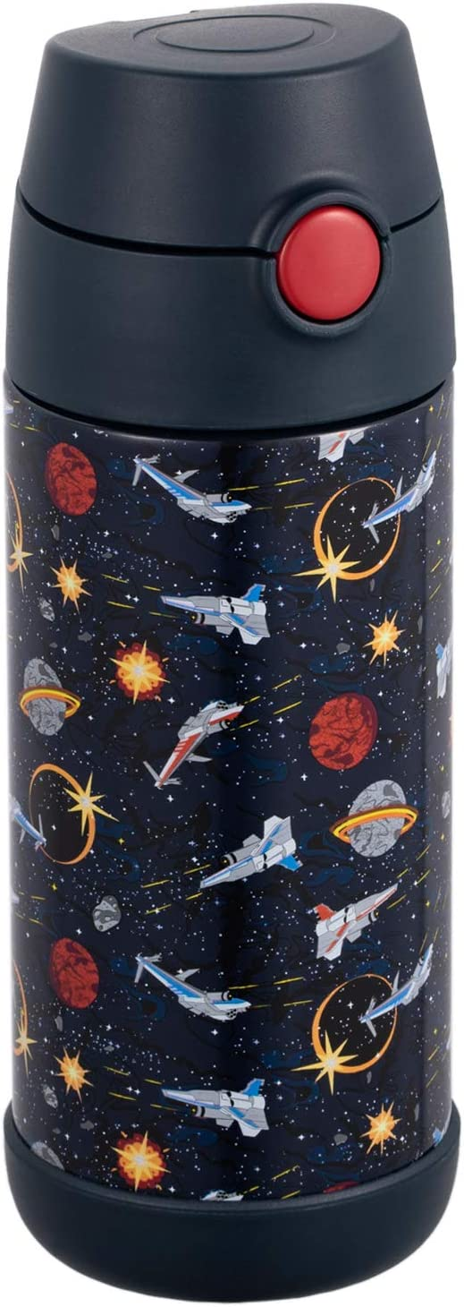 Snug Flask for Kids - Vacuum Insulated Water Bottle with Straw (Space Wars, 12oz)