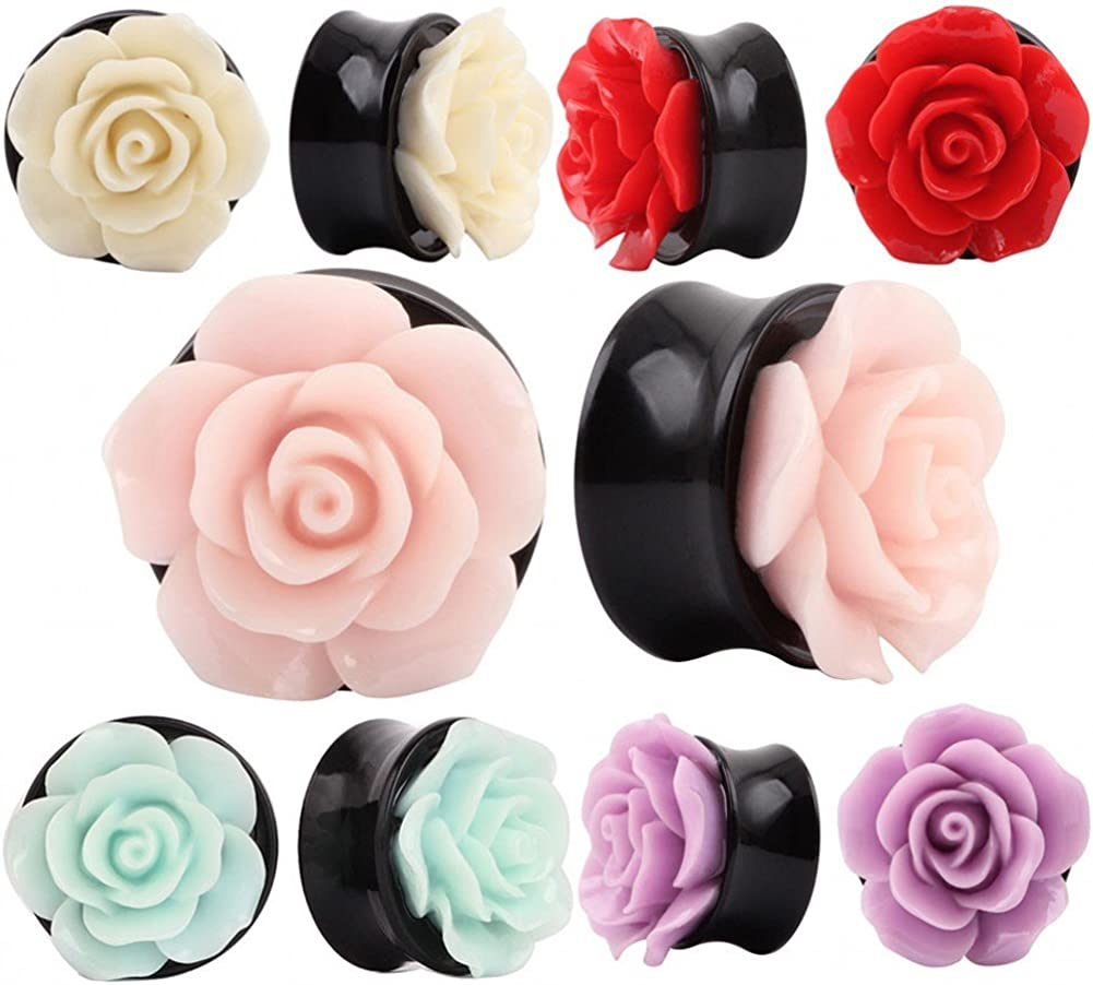 IPINK-10 PCS Rose Flower Ear Expander Tunnel Body Piercing Jewelry 8MM-25MM