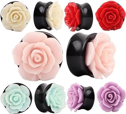 Amazon.com: IPINK-10 piezas de dilatador de oreja de flor de ...