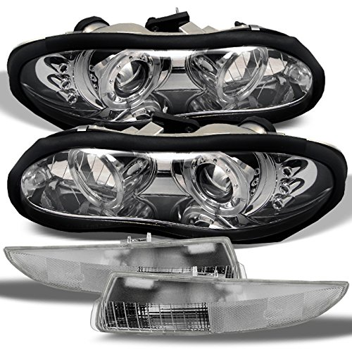 For 1998-2002 Chevy Camaro Chrome Dual Halo LED Projector Headlights + Chrome Bumper Lamps Light Combo