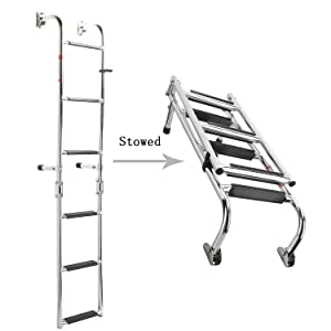 NovelBee Foldable Stainless Steel 6 Steps Ladder Stern Mount w Rubber Grips for Marine Boat Yacht (6 Steps:3+3 Steps)