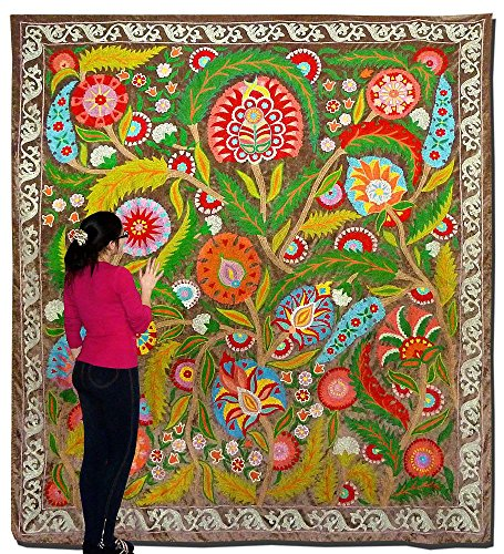 LARGE STUNNING UZBEK OTTOMAN SILK EMBROIDERY SUZANI ON NATURAL SILK VELVET A8118 by Uzbek suzani