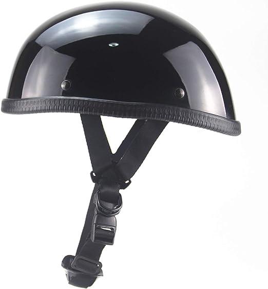 Bright Black PURROMM Mens Bicycle Scooter Helmet Summer Motorcycle Retro Helmet Japan EE Open Face Half Helmet DOT Certified Sports Enthusiasts Gift ,M