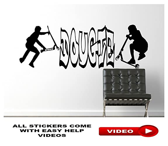 Stunt scooters wall art sticker personalised name or tag boys bedroom room home decor