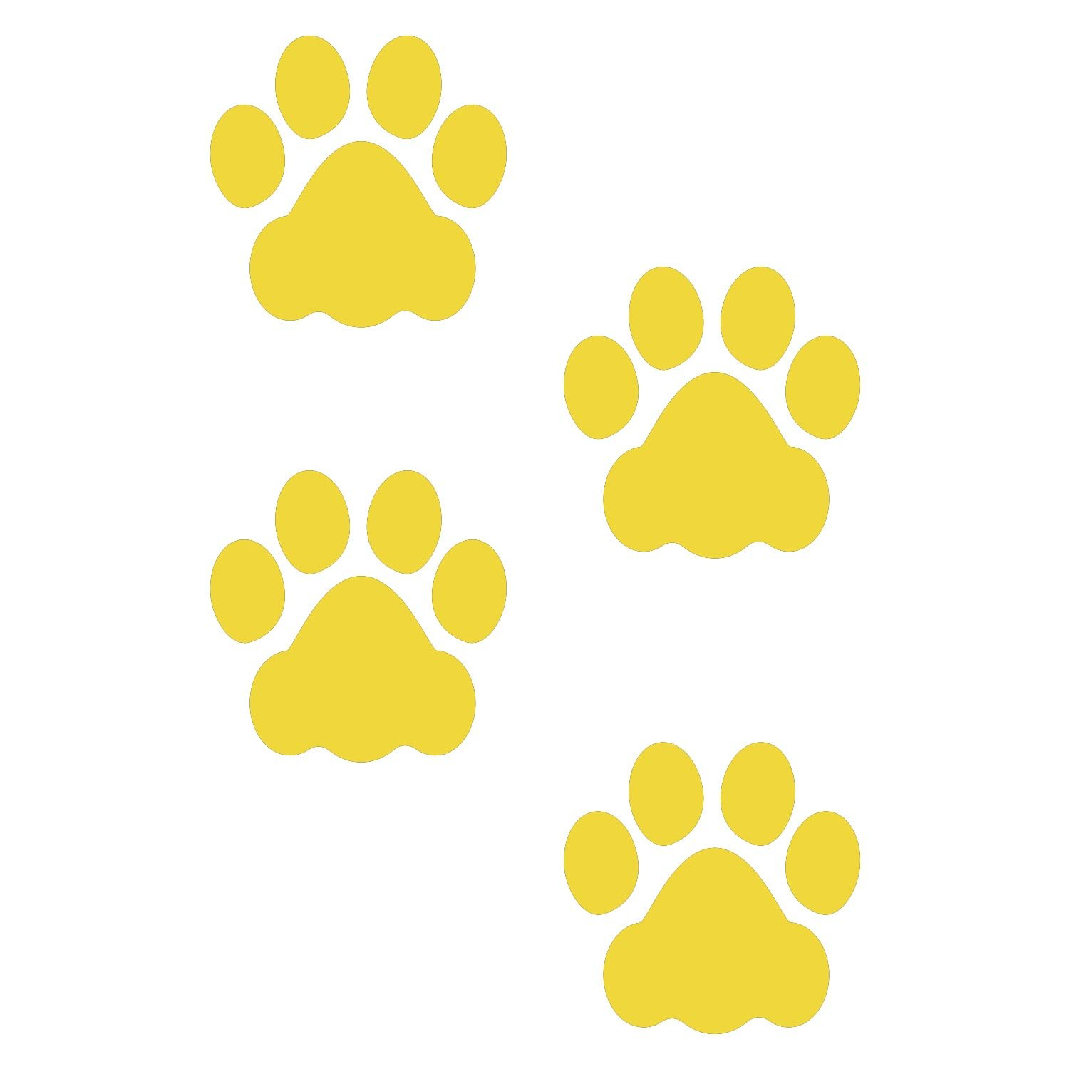 LiteMark 3 Inch Yellow Removable Dog Paw Prints Decal Stickers for Floors and Walls - Pack of 48