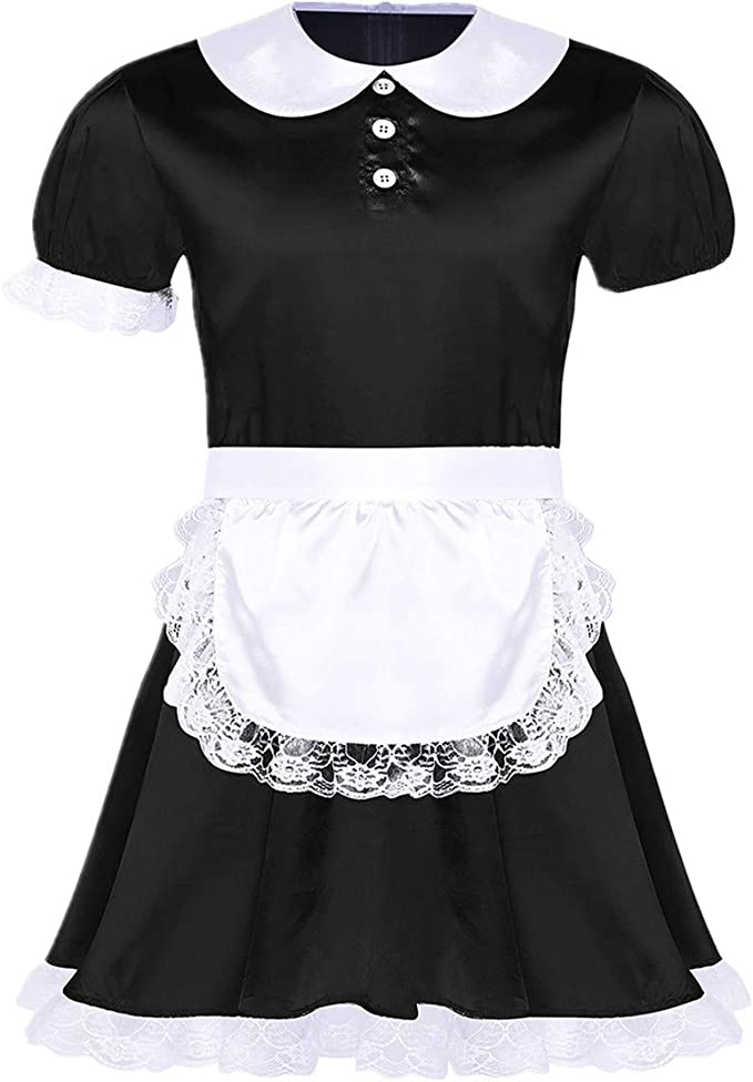 ADULT BABY FRILLY LACE TRIM BLACK SATIN CUFFS WITH BOWS