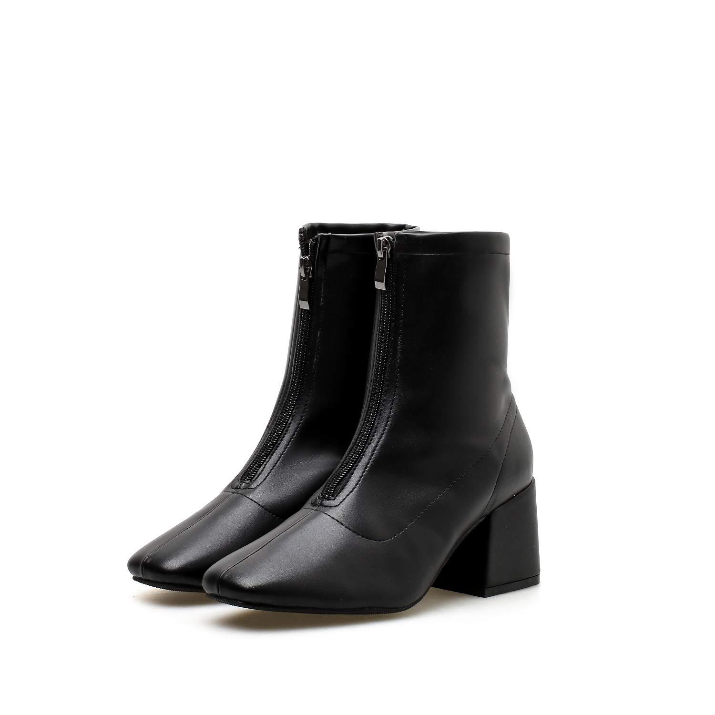 HBDLH Damenschuhe Schwarze Kurze Stiefel High - 6 cm Im Frühling Und Herbst - Reißverschluss Winter Harte Sohle Ma Dingxue.