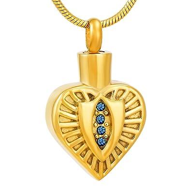 Amazon com: Golden Heart Cremation urn Pendant Memorial