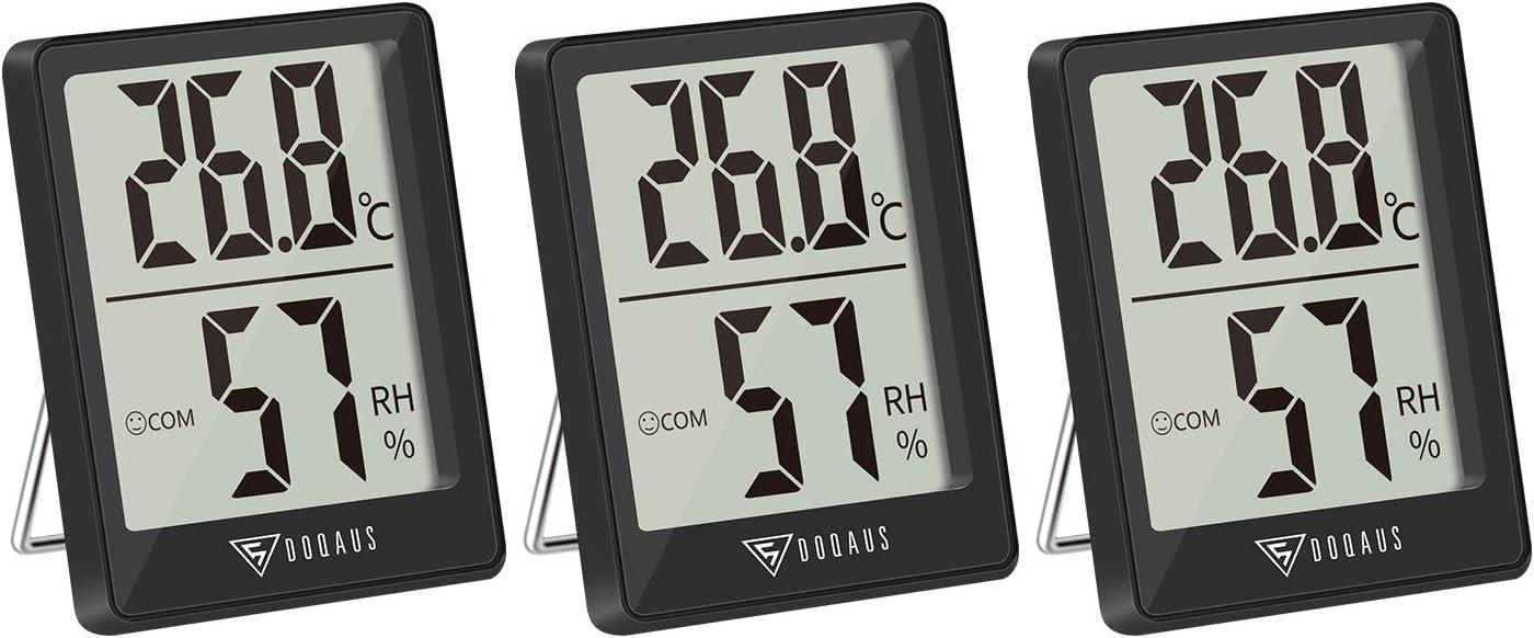 DOQAUS 3 Piezas Mini Termómetro Higrómetro Digital, Medidor de Temperatura con 5s de Respuesta Rápida para Temperatura y Humedad del Casa Ambiente (Negro)
