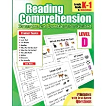 Reading Comprehension Passages and Questions for Guided: Level D Guided Reading Comprehension Books Passages and Questions for Homeschool, Kindergarten, 1st Grade