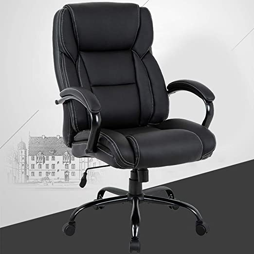 Massage Office Chair Big And Tall 500lbs Wide Seat Ergonomic Desk Chair With Lumbar Support Arms High Back Pu Leather Executive Task Computer Chair For Adults Office Products Managerial Executive Chairs