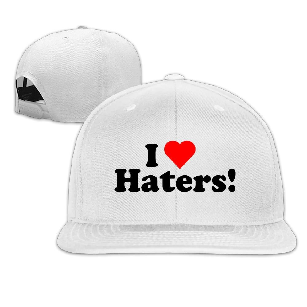MCWO GRAY Mens//Womens I Heart Haters Baseball Hat Snapback Cap Cotton White