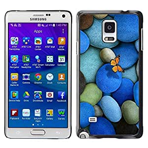 LECELL -- Funda protectora / Cubierta / Piel For Samsung Galaxy Note 4 SM-N910F SM-N910K SM-N910C SM-N910W8 SM-N910U SM-N910 -- Pebbles Stones & Butterfly --