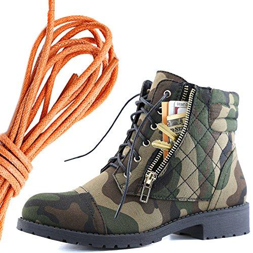Dailyshoes Kvinna Militär Snörning Spänne Bekämpa Stövlar Fotled Hög Exklusiva Kreditkortsficka, Orange Kamouflage Cv