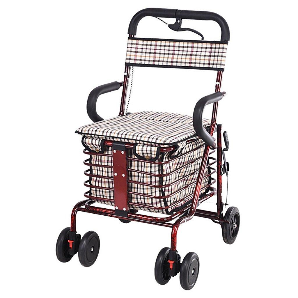 高齢者ショッピングカート/レクリエーション車/折りたたみ式ウォーカー/ウォーカー/リハビリ機器折り畳み歩行四輪ショッピングカートレッドダブルホイールサイズ:45cm * 43cm * 85cm   B07NX4B8P2