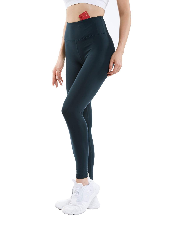 Navy bluee ANBENEED Women's High Waist Tummy Control Yoga Pants Inner Pocket Workout Yoga Leggings 25