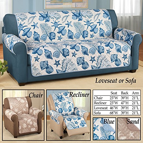 Beach Seashell Quilted Furniture Protector Cover Sand Sofa  : 6143SG9EXCL from myhomedecoratorcollection.com size 500 x 500 jpeg 96kB