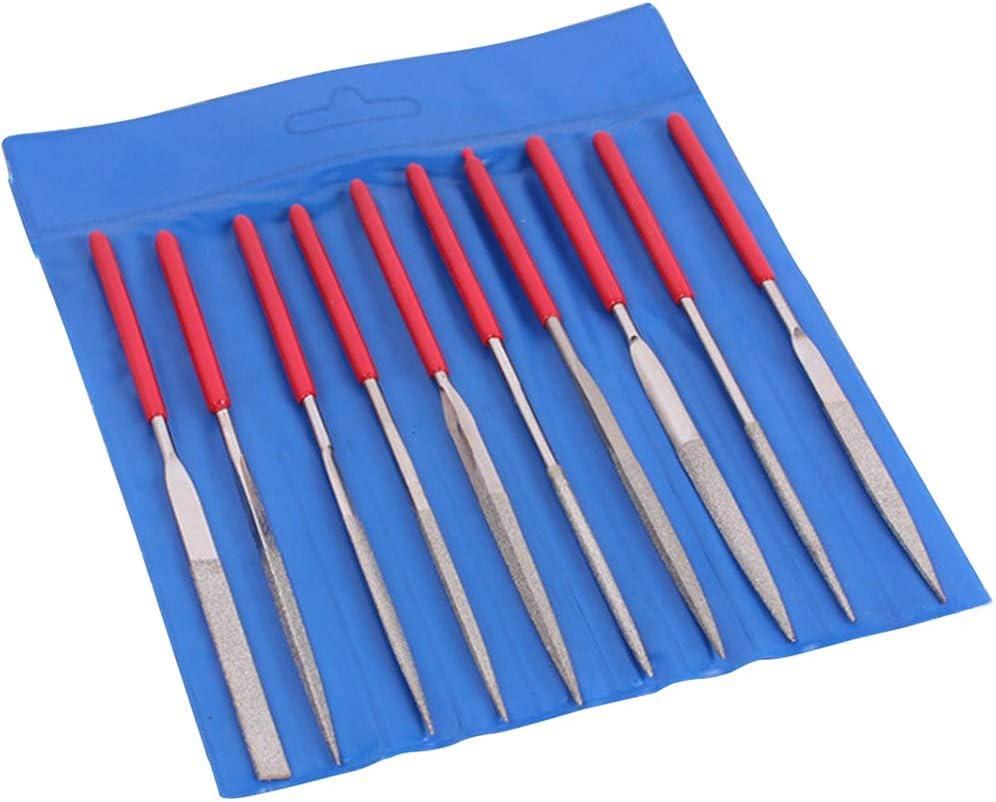 Juego de limas de aguja de diamante con mango de pl/ástico antideslizante para joyas de metal y vidrio 10 unidades