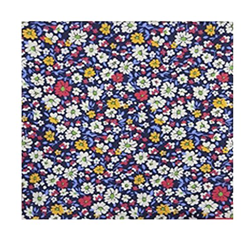 Robert Talbott Navy with Multi-Color Floral Design Pocket Square 16.5
