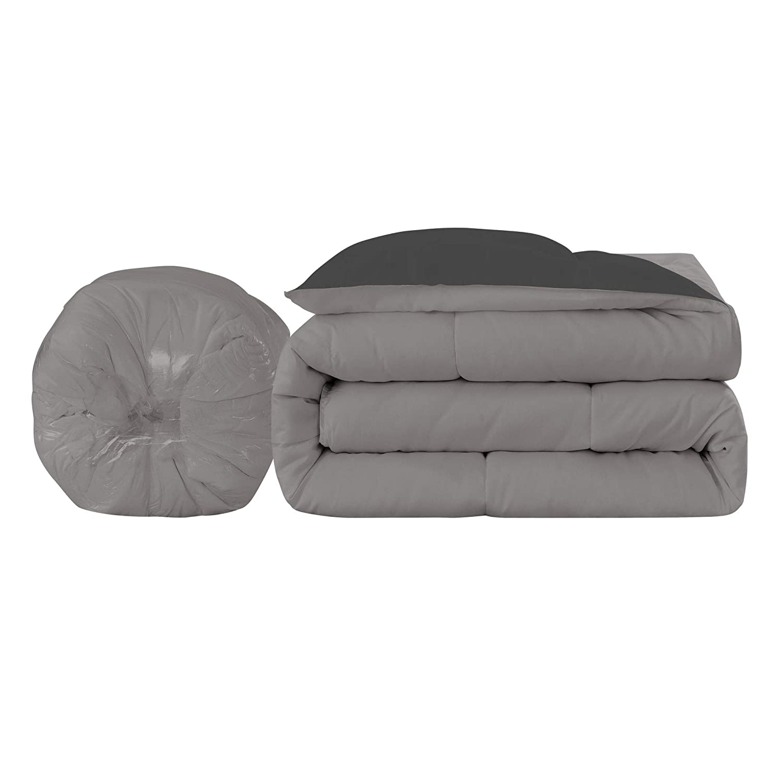Full//Queen New Sega Home Ultra Reversible Down Down Alternative Comforter White