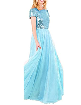 a7fbec8477 Two Piece Bridesmaid Dresses with Sleeves Sequins Top Tulle Skirt Prom Gown  Long Blue Light