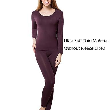 9c1d2142887 wishpower Women s Ultra Soft Thermal Underwear Long Johns Set with Fleece  Lined Brown L