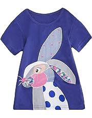 Luckycat Vestidos de niña, Vestido de Manga Corta con Estampado de El Conejo Pascua Vestidos