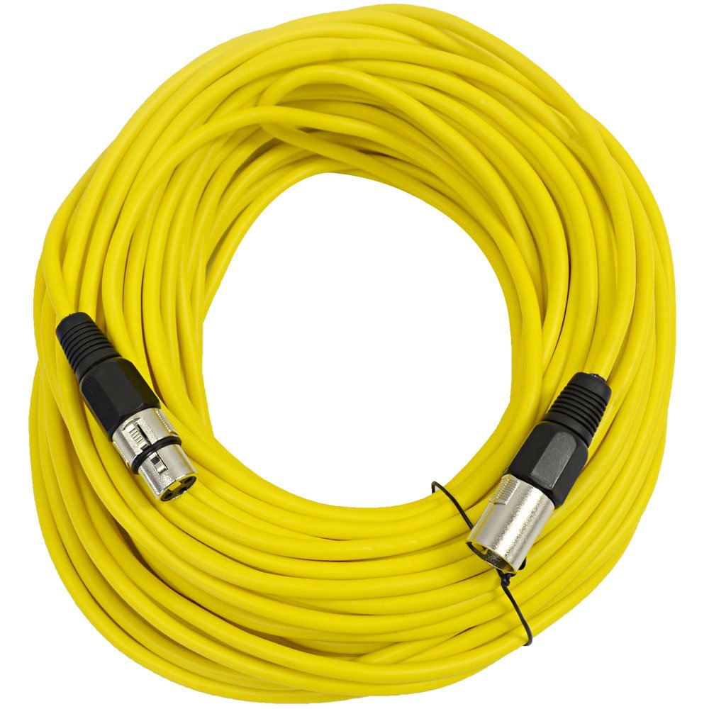 SEISMIC AUDIO - SAXLX-100 - 100' Yellow XLR Male to XLR Female Microphone Cable - Balanced - 100 Foot Patch Cord by Seismic Audio