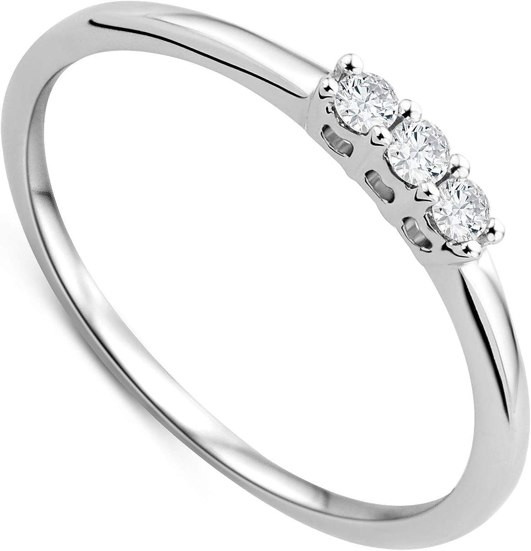 Orovi anillo de mujer tresillo 0.09 Quilates diamantes en oro blanco 9 kilates ley 375