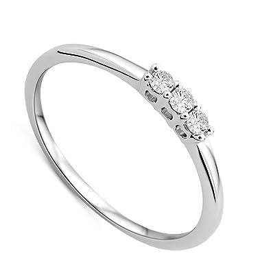 8c03b28a89a8 Orovi anillo de mujer tresillo 0.09 Quilates diamantes en oro blanco 9  kilates ley 375  Amazon.es  Joyería