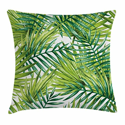 Ambesonne Plant Throw Pillow Cushion Cover, Watercolor Tropical Palm Leaves Colorful Illustration Natural Feelings, Decorative Square Accent Pillow Case, 24 X 24 Inches, Fern Green Lime Green