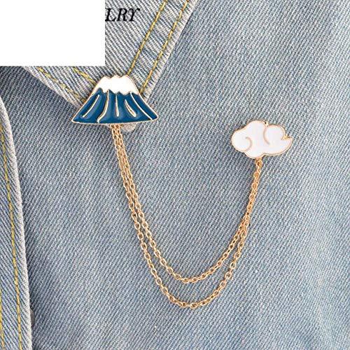 (Mt Fuji & Clouds Tassel Collar Enamel Pin Japan Travel Jewelry Kawaii Sightseeing Souvenirs)