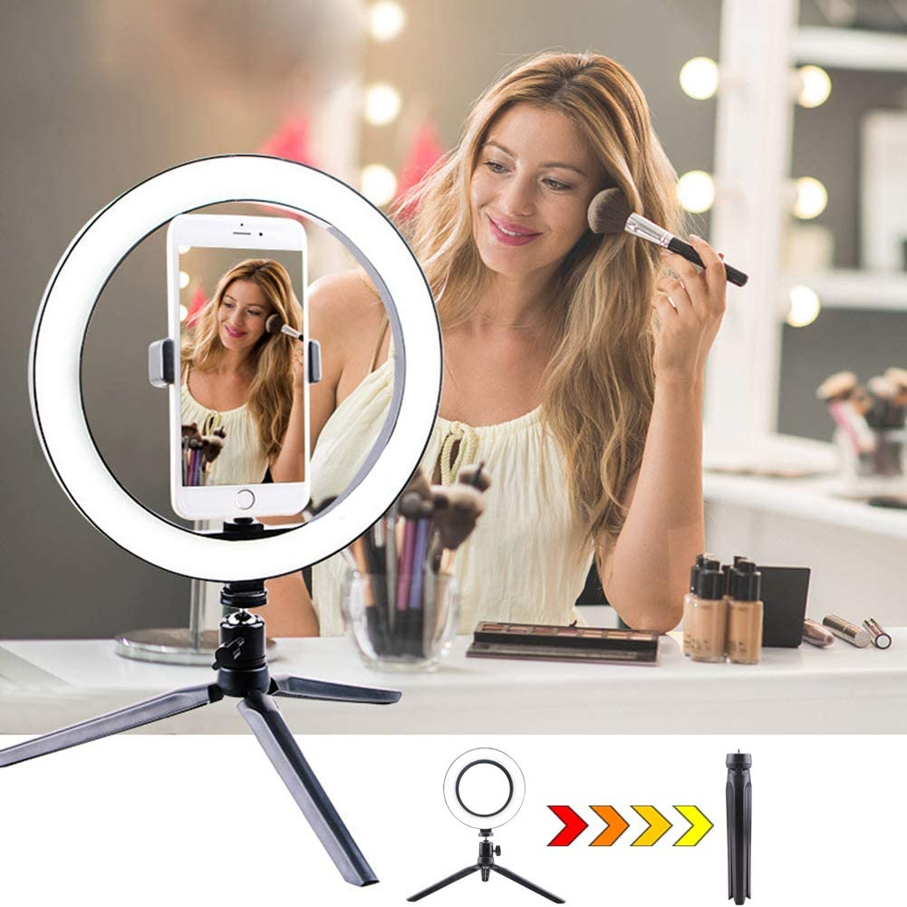 Desk Selfie Ring Lamp with 3-Light Modes Dimmable 270 Degree Adjustment for YouTube Vlogging Tiktok 20cm,S+C URAURORA LED Circle Light