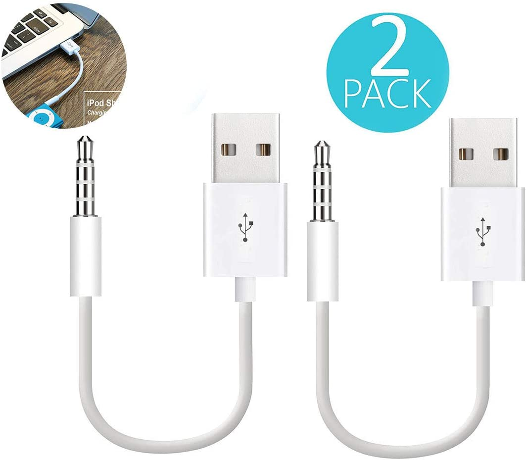 Sidiyang USB Power Charger and Sync Data Transfer Cable,2-Pack 3.5mm Plug Jack Date Cable Compatible for iPod Shuffle 3rd 4th 5th Generation - White