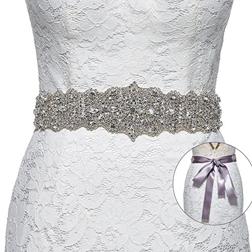 Sisjuly Women's Crystal Sash Rhinestone Wedding Belt for Prom Party Evening Dresses Grey by Sisjuly