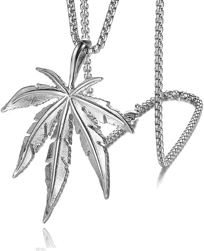 Collar con colgante de acero inoxidable para hombre y mujer, estilo hip hop, cadena de eslabones de 60,96 cm