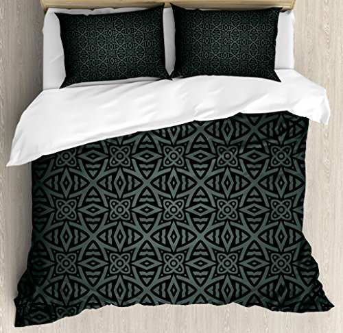 Ambesonne Dark Grey Duvet Cover Set King Size, Medieval Folkloric Ornament Celtic Pattern Vintage Style Abstract Floral Circles, Decorative 3 Piece Bedding Set with 2 Pillow Shams, Black Grey
