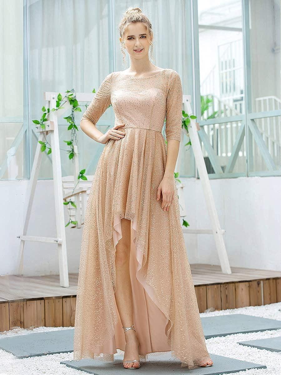 Ever-Pretty Vestito da Cerimonia Elegante High-Low Mezza Manica Rotondo Tulle Stile Impero Donna 00677