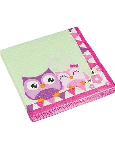 Set 20 servilletas papel, accesorios cumpleaños Búhos ...