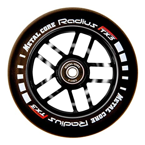 Metal Core Rueda Radius para Scooter Freestyle, Diámetro 120 mm (Negro)