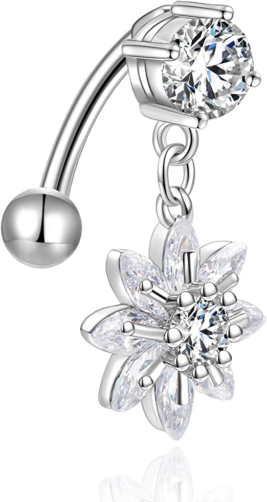 Party Body Navel Piercing Belly Button Ring Flower Vintage Rhinestone Ring Y2