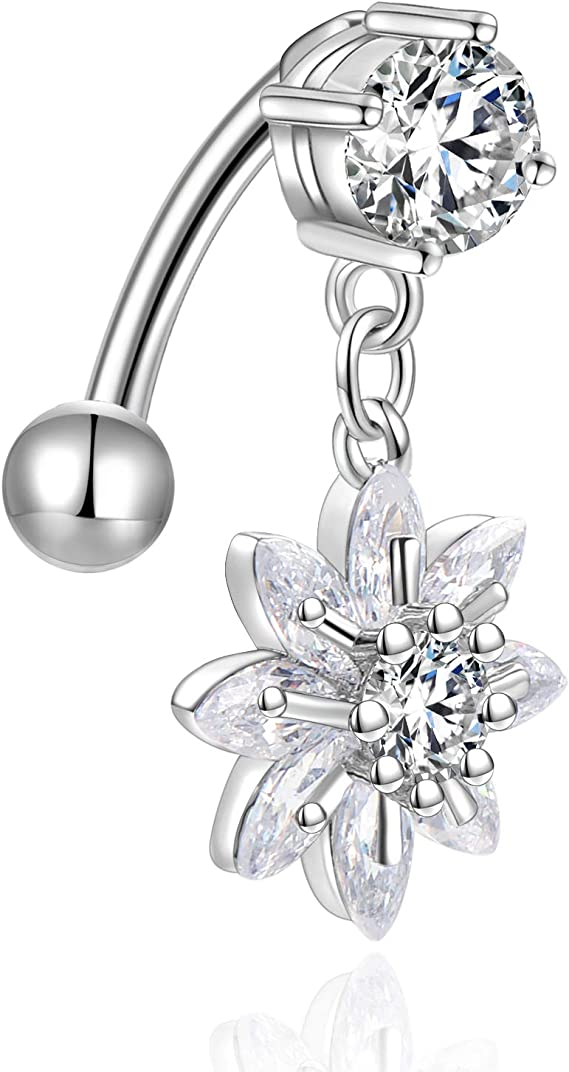 Tinksky Women Navel Belly Ring Body Piercing Stud Heart Flower Shaped Rhinstone Decorated White
