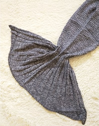 Mermaker ® All Seasons Knitted Mermaid Tail Blanket Adult/Teen Tails ,Sofa Sleeping Bag Mermaid Blanket for Adult Gray 75″x34″ 1.98 LB