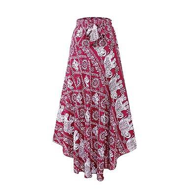 ALIKEEY Mujer Moda Señora Alta Cintura Bohemia Vintage Suelta Playa Abrigo Maxi Largo Falda Cuero Corta Cuadros Danza del Vientre Hombre Elastica Elegante ...